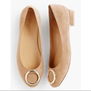Talbots Camel Suede Brooke Gold Ring Flats - 7.5